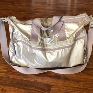 Gray/silver Lesportsac duffle